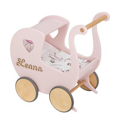 Drewniany wózek dla lalek + imię + pościel TukuTuk