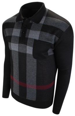 3XL- Męski sweter polo z kieszonką NL 03-3