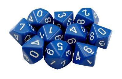 Kostki niebieskie RPG K10 10szt. kości kostka WBM