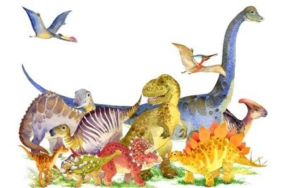 Fototapeta dziecięca dinozaury akwarela 180x120