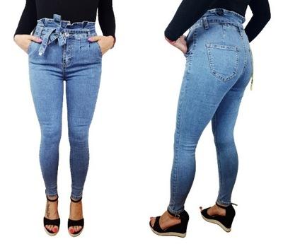 Spodnie Jeansowe Damskie Wyszczuplające Falbanka