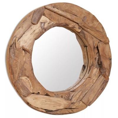 Dekoratívne zrkadlo, teak, 60 cm, okrúhle