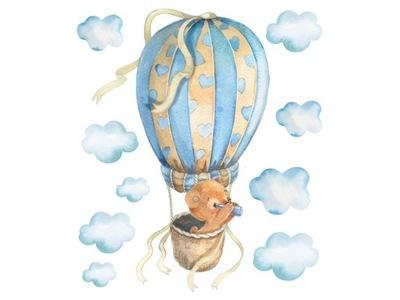 Detská samolepka Medvedík Traveller v balóne