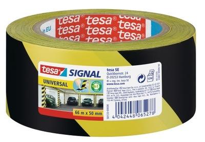 Taśma ostrzegawcza tesa żółto czarna 66m x 50mm