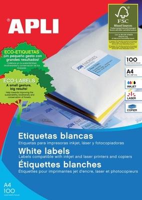 Etykiety 210x297mm białe 100 ark do drukarki