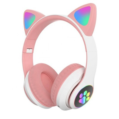 Słuchawki dla dzieci bluetooth LED kocie uszy RGB