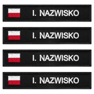 N06 Naszywka imienna policja FLAGA zestaw czarna