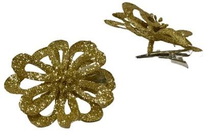 kwiat złoty brokat śr. ok 8cm na klipsie dekorac