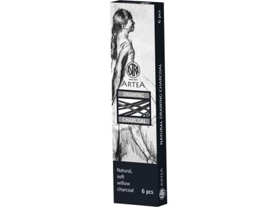 уголь натуральный рисования 6 -8 мм 6шт Astra