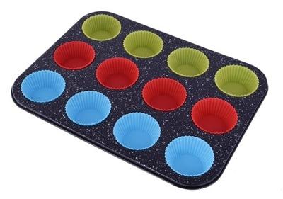 Forma Blacha do Muffinów + 12 silikonowe babeczki