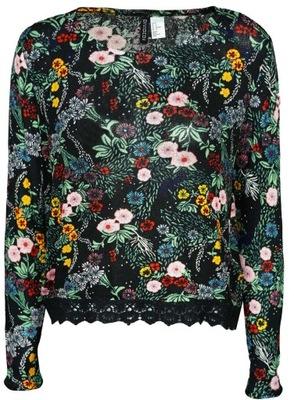 H&M Damska Czarna Bluzka w Kwiaty Koronka M 38