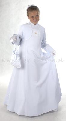 G550 Sukienka komunijna alba D6 128/134 biała.lam.
