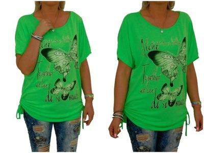 149# Włoska Koszula Tunika Krata Asymetryczna 6039374245