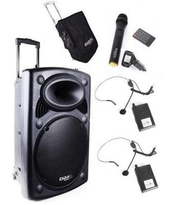 Kolumna Nagłośnienie IBIZA PORT15UHF-BT 3mikrofony