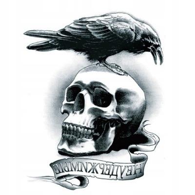 Tatuaż tymczasowy zmywalny KRUK czaszka ptak fake