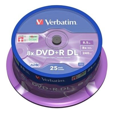 VERBATIM DVD+R DL 8,5GB 25 szt. AZO W-wa MKM-003