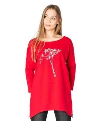 Długa Bluzka Tunika Asymetryczna Damska 4597-2 XL