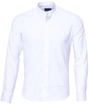 Koszula męska biała stójka SLIM FIT STRUKTURA - S