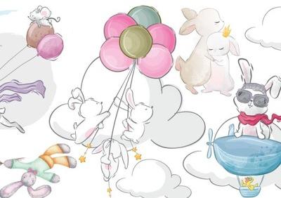 NÁLEPKY PRE DETI na stenu zajačiky balóniky