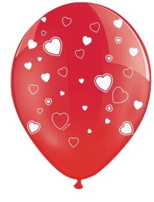 Balony Czerwone Serca Serduszka Walentynki 5 sztuk