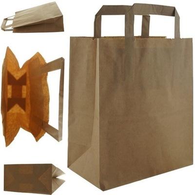 Torba papierowa eko brąz 22x11x25cm płaski uchwyt