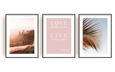 Модные комплект 3 ИЗОБРАЖЕНИЯ плакат пальма вид