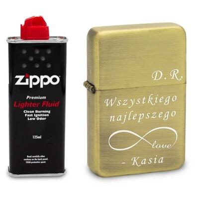 Зажигалка бензиновая золото с гравировкой + Zippo
