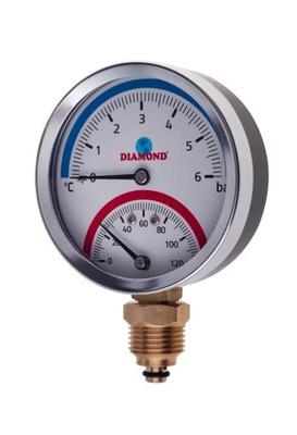 Ciferníkový termomanometer 80 mm 0 - 120 stupňov C BOC 1/2 palca