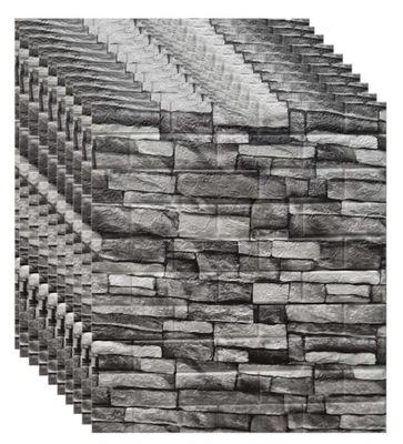 10x ОБОИ Кирпич камень Серый 3D Клей 77x70CM 5 ,4м