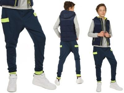 Spodnie dresowe BAGGY, bojówki obniżony krok 152