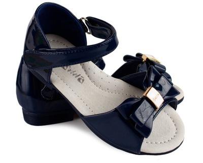 Śliczne Granatowe sandały lakierki kokarda 36