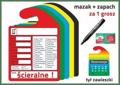 ZAWIESZKI KOMISOWE SCIERALNE+MAZAK +ZAPACH 10 PIEZAS