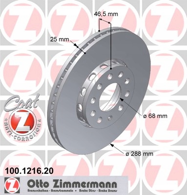 диски колодки zimmermann p + t audi a4 b6 288mm, фото 2