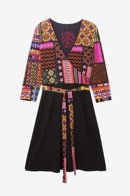 Desigual piękna sukienka kopertowy dekolt S