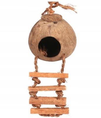 domek z drabinką dla papugi ptaka kokos