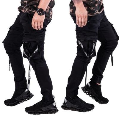 Spodnie JOGGERY czarne szelki street ADAMO r.29