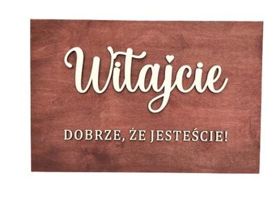Drewniana rustykalna tablica powitalna na wesele