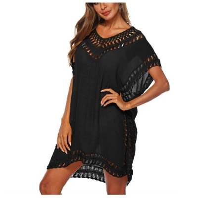 Czarne PAREO sukienka plażowa BOHO tunika haft