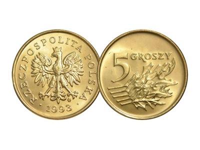 5 groszy 1993 r. stan menniczy z woreczka