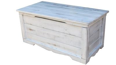 Skrzynia kufer drewniany pobielany duży