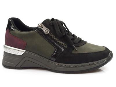 półbuty Rieker N4332-00 sportowe sneakersy Zielone