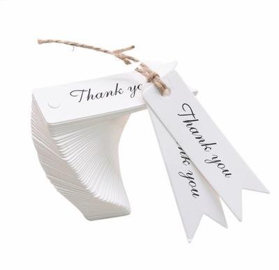 Biała Zawieszka 10szt Etykieta Thank You Dziękuję