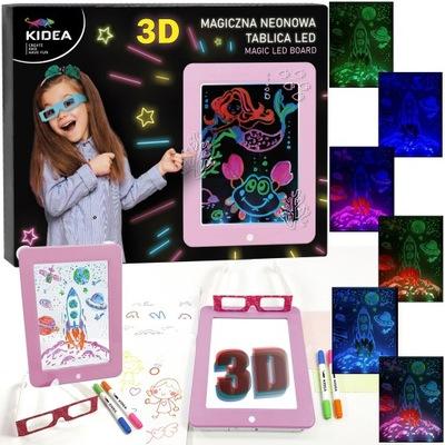 3D MAGICZNA NEONOWA TABLICA 8x EFEKT LED +SZABLONY