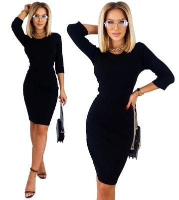 KOBIECA Ołówkowa Sukienka PRĄŻKOWANA Dopasowana