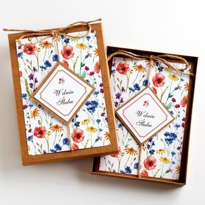Pamiątka Ślubu kartka w pudełku kwiat polne eco A5