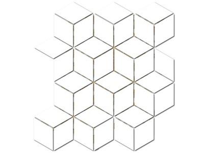HEKSAGON ROMB KOSTKA DIAMOND mozaika biała połysk
