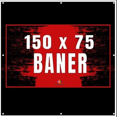 Baner reklamowy mocny 150x75cm plandeka + PROJEKT