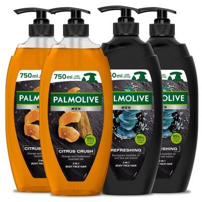 PALMOLIVE MEN żel pod prysznic męski MIX 4x 750 ml
