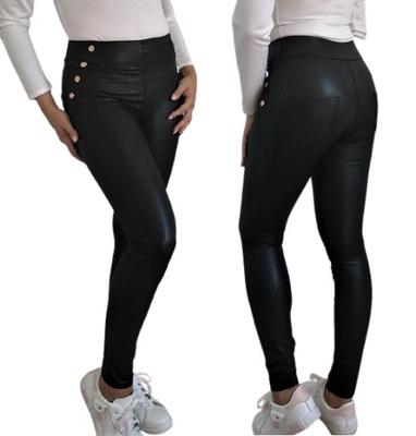 Spodnie Legginsy eko SKÓRA Złote GUZIKI czarne XL