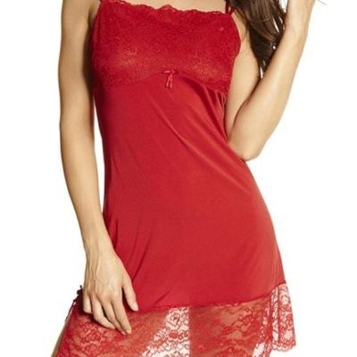 L Agio 3111 czerwona koszulka nocna, halka 7425450386